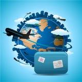 Flugzeugreisenkonzept Lizenzfreie Stockfotografie