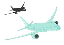 Flugzeugschattenbilder auf einem weißen Hintergrund. vektor abbildung