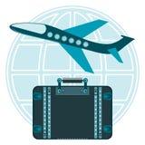Flugzeugstart und der Koffer für Reise auf einer Kugel lizenzfreie abbildung