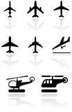 Flugzeugsymbolset. Stockfotografie
