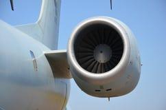 Flugzeugturbinendetail Fan- und Kegelsystem stockfoto
