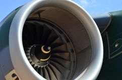 Flugzeugturbinendetail Fan- und Kegelsystem lizenzfreies stockfoto