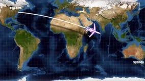 Flugzeugverkehr - Flugweg von New York nach Sydney lizenzfreie abbildung