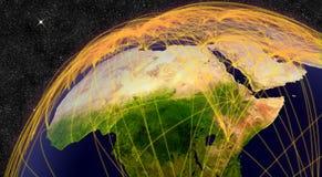 Flugzeugverkehr in Nord-Afrika Stockbild