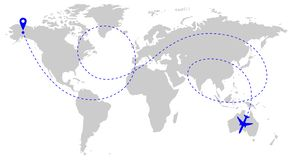 Flugzeugweg über Welt lizenzfreie abbildung