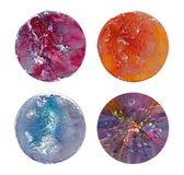 Fluid art in a petri dish. Colorful acrylic, ink, oil and watercolor marble paint splashes. stock image