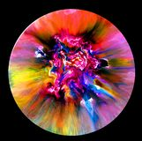Fluid art in a petri dish. Colorful alcohol, ink, Living colorful bacteria in a petri dish. Stock Images