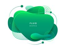 Fluid blob in 3d shape. Abstract fluid blob in 3d shape. Green liquid spot for flyer or cerulean dynamical colored free forms. Blotch for card or presentation royalty free illustration