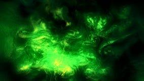Fluid burst animation green glowing smoke cloud