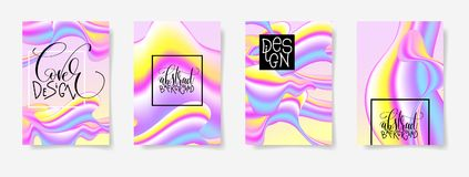 Fluid color covers set with abstract background, trendy design. With gradients for gift card, cover, poster, vector illustration Stock Image