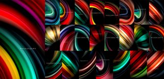 Fluid color flow abstract background mega collection, modern colorful flowing designs, liquid waves on black. Vector illustration vector illustration