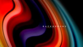 Fluid colors abstract background, twisted liquid design on black, colorful marble or plastic wave texture backdrop. Multicolored template for business or vector illustration