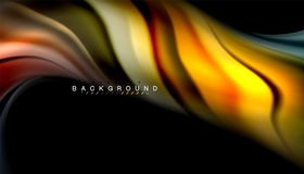 Fluid colors abstract background, twisted liquid design on black, colorful marble or plastic wave texture backdrop. Multicolored template for business or Stock Illustration