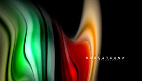 Fluid colors abstract background, twisted liquid design on black, colorful marble or plastic wave texture backdrop. Multicolored template for business or Royalty Free Illustration