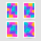 Fluid colors background, blurred background, set posters with wh Stock Photo