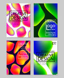 Fluid colors backgrounds set. Holographic effect. Applicable for gift card,cover,poster,brochure,magazine. Vector Royalty Free Stock Photos