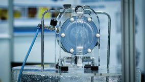 Fluid double chamber valve. Equipment of the chemical laboratory for the production of promising innovative materials stock video footage