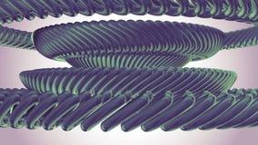 Fluid flyttning som roterar ny kvalitet för grön för metallkedjeöga för cirklar sömlös för ögla för animering 3d för rörelse bakg royaltyfri illustrationer