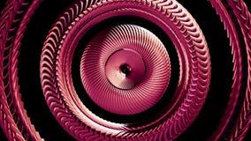 Fluid flyttning som roterar ny kvalitet för röd för metallkedjeöga för cirklar sömlös för ögla för animering 3d för rörelse bakgr stock illustrationer