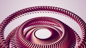 Fluid flyttning som roterar ny kvalitet för röd för metallkedjeöga för cirklar sömlös för ögla för animering 3d för rörelse bakgr royaltyfri illustrationer