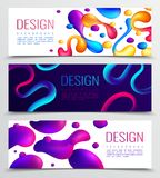Fluid Horizontal Banners Set. Set of three fluid neon holographic abstract design horizontal banners with colourful drops and editable text vector illustration Royalty Free Stock Photography