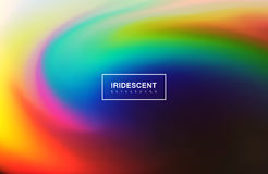 Fluid iridescent multicolored background. Vector illustration of iridescent rainbow fluids. Holographic neon whirlpool effect. Applicable for flyer, banner Royalty Free Stock Photos