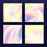 Fluid Iridescent Multicolored Vector Background. Illustration Of Pastel Fluids, Holographic Neon Effect. Stock Photography