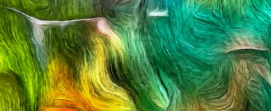 Fluid lines of color movement. Green and yellow colors mostly. 3D rendering Stock Photos