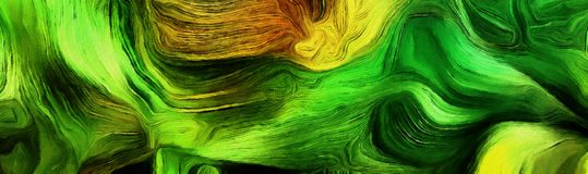 Fluid lines of color movement. Green and yellow colors mostly. 3D rendering Royalty Free Stock Image
