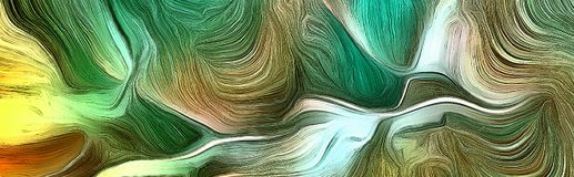 Fluid lines of green colors movement. Fluid lines of color movement. Green is a main color. 3D rendering Stock Photo
