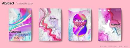 Fluid liquid style brochure. Colorful and wavy shape on marble stone background for design Stock Photo