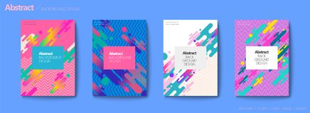 Fluid liquid style brochure. Trendy and colorful geometric elements design set vector illustration