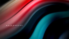 Fluid mixing colors, vector wave abstract background. Abstract wave lines fluid rainbow style color stripes on black background. Vector artistic illustration for Stock Photo