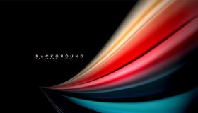 Fluid mixing colors, vector wave abstract background. Abstract wave lines fluid rainbow style color stripes on black background. Vector artistic illustration for Stock Image