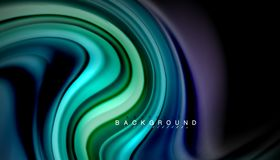 Fluid mixing colors, vector wave abstract background. Abstract wave lines fluid rainbow style color stripes on black background. Vector artistic illustration for Royalty Free Stock Photography