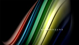 Fluid mixing colors, vector wave abstract background. Abstract wave lines fluid rainbow style color stripes on black background. Vector artistic illustration for Stock Images