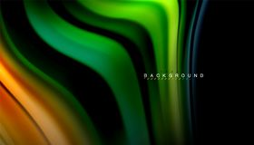 Fluid mixing colors, vector wave abstract background. Abstract wave lines fluid rainbow style color stripes on black background. Vector artistic illustration for Royalty Free Stock Image