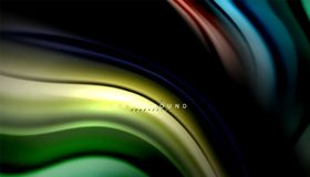 Fluid mixing colors, vector wave abstract background. Abstract wave lines fluid rainbow style color stripes on black background. Vector artistic illustration for Stock Photos