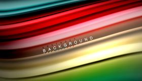 Fluid mixing colors, vector wave abstract background. Abstract wave lines fluid rainbow style color stripes on black background. Vector artistic illustration for royalty free illustration
