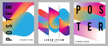 Fluid posters set in colorful modern style with abstract elements. Template design layout. Stock Image