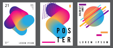 Fluid posters set in colorful modern style with abstract elements. Template design layout. Stock Photography