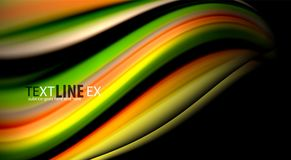 Fluid rainbow colors on black background, vector wave lines and swirls. Artistic illustration for presentation, app wallpaper, banner or poster vector illustration