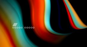 Fluid rainbow colors on black background, vector wave lines and swirls. Artistic illustration for presentation, app wallpaper, banner or poster Royalty Free Stock Image