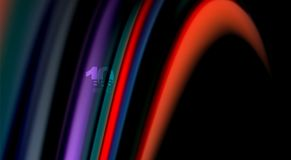 Fluid rainbow colors on black background, vector wave lines and swirls. Artistic illustration for presentation, app wallpaper, banner or poster Stock Images