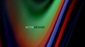 Fluid rainbow colors on black background, vector wave lines and swirls. Artistic illustration for presentation, app wallpaper, banner or poster Royalty Free Stock Photo