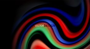 Fluid rainbow colors on black background, vector wave lines and swirls. Artistic illustration for presentation, app wallpaper, banner or poster royalty free illustration
