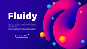 Fluid shape with colorful balls, creative landing page with space for your text, abstract art design. Vector illustration stock illustration