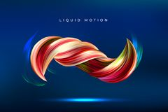 Fluid shapes composition, 3D abstract paint brush stroke. Color spiral wave. Eps10 vector. Colorful geometric background. Fluid shapes composition, 3D abstract Stock Photography