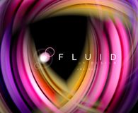 Fluid smooth wave abstract background, flowing glowing color motion concept, trendy abstract layout template for. Business or technology presentation or web Royalty Free Illustration