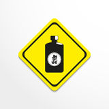 Fluid to kindle a fire. Symbol. Vector icon. Black and white image in a yellow sign on a light background Royalty Free Stock Photography